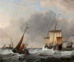 A Dutch Three-Master and a Boeier in Stormy Weather