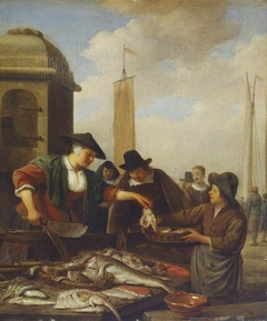 A Fish Stall by a Harbour