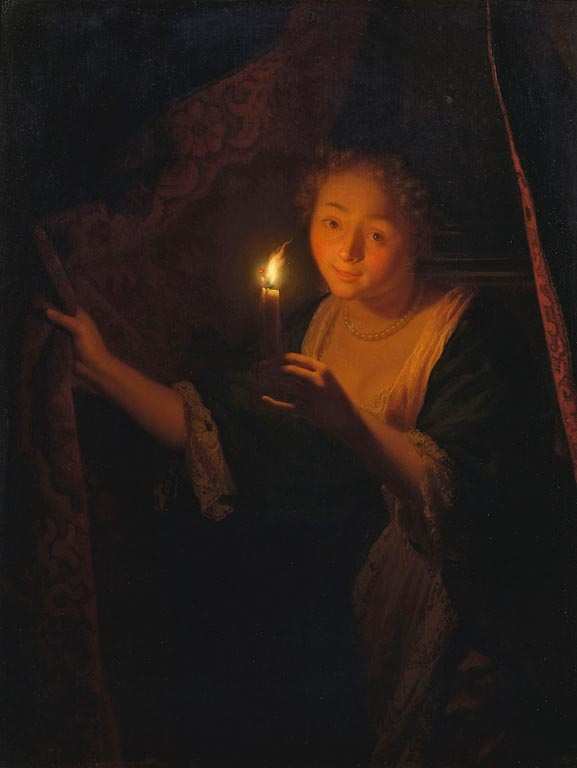 A Girl with a Candle Drawing aside a Curtain