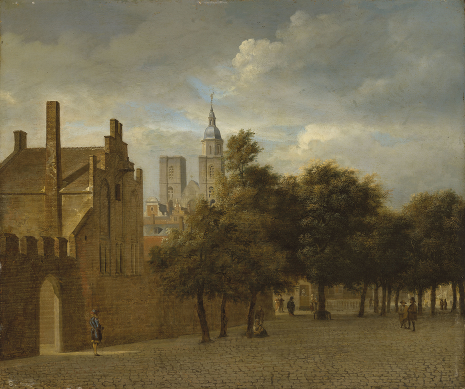A townscape with figures promenading, a church beyond