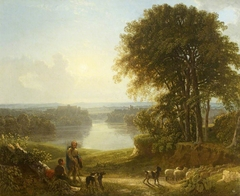 A View of Richmond with Two Shepherds and Sheep on a Road