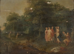 A Wooded Landscape with Nymphs Dancing