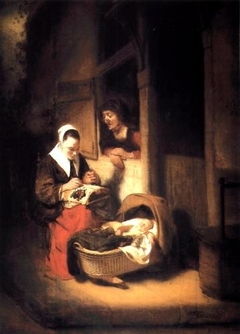 A Young Lacemaker beside a Cradle
