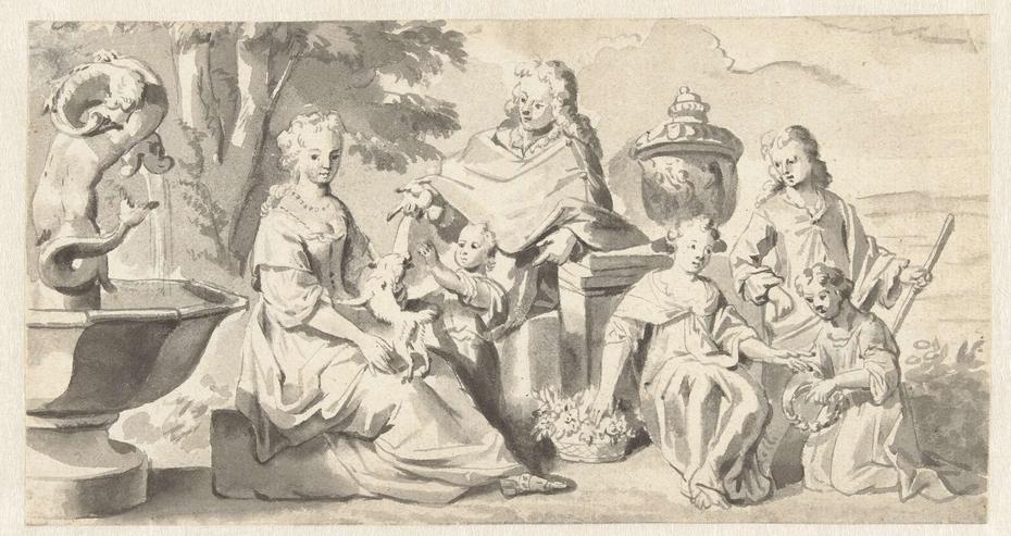 Aanzienlijke familie in een tuin bij een fontein