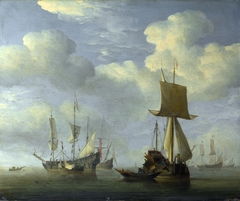 An English Vessel and Dutch Ships Becalmed