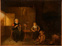 An Old Woman Twisting Threads and Two Children in the Room