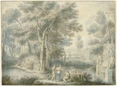Arcadisch landschap, met rechts een fontein