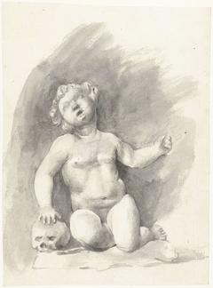 Beeld van naakte jongen zittend naast een schedel