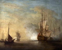 British Warship firing Salvoes in a Calm with Other Boats