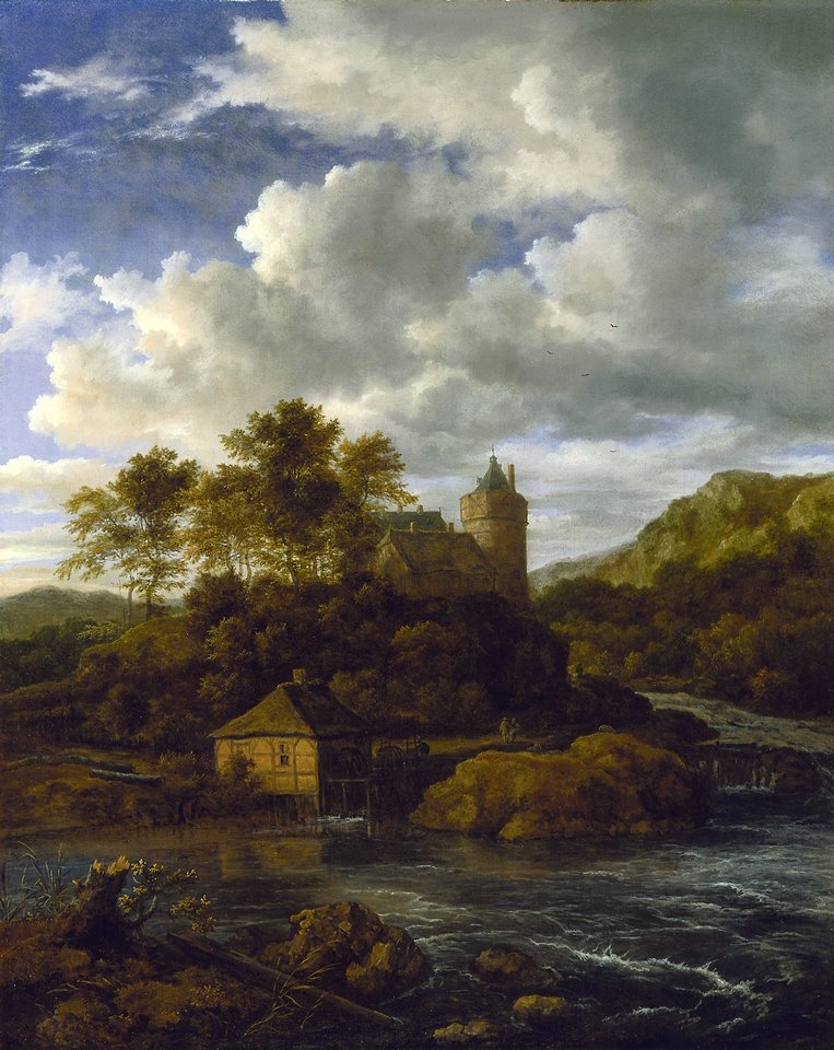 Castle and Watermill by a River