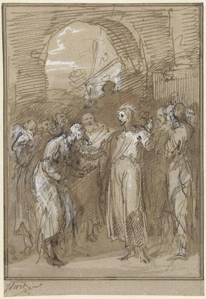 Christus te midden van Farizeeërs voor een poort