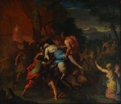 Combate de centauros y lapitas. (Tit. Ant.: Centauros e ilotas)
