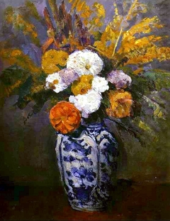 Dahlias in a Delft vase