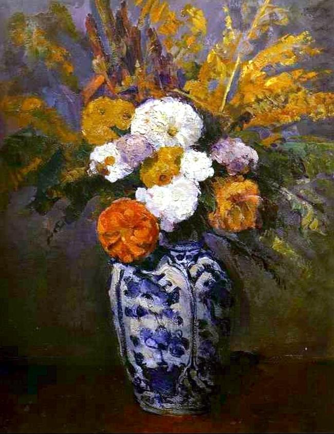 Dahlias in a Delft vase