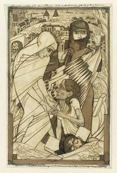 De hulpverlening tijdens de watersnood van 1926, symbolisch voorgesteld