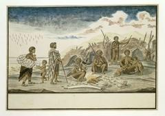 De Strandlopers en hun schuilhutten op het strand