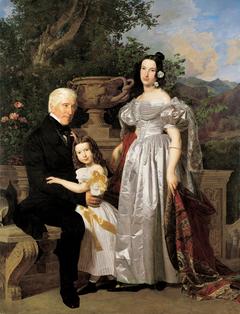 Der fürstlich Esterházy'sche Rat Mathias Kerzmann mit seiner zweiten Gattin, geb. Gräfin Majlath, und seiner Tochter Maria