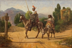 Don Quixote and Sancho Panza at a crossroad