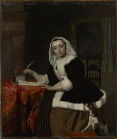 Elegant Lady Writing at Her Desk