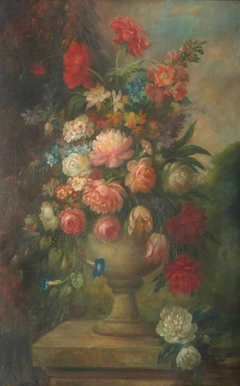 Floral Still Life in an Urn on a Plinth in a Garden