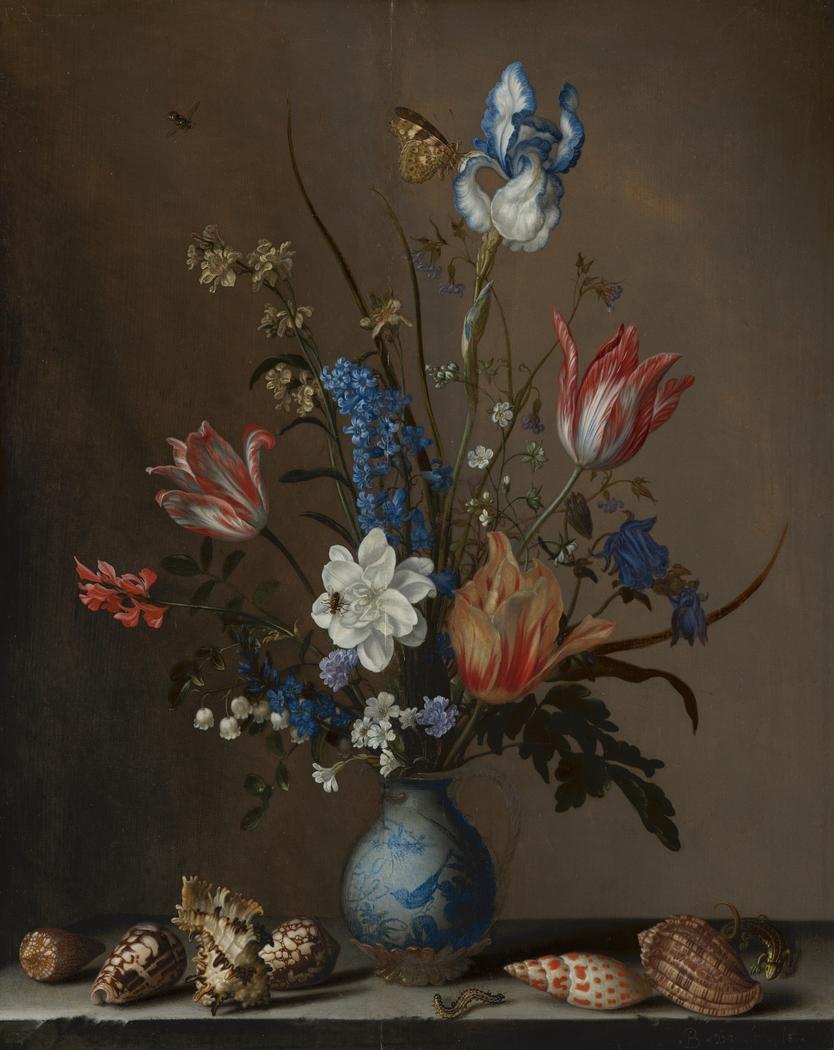 Flowers in a Wan-Li Vase, with Shells