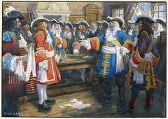 Frontenac receiving the envoy of Sir William Phipps demanding the surrender of Quebec, 1690.