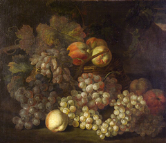 Fruit in a Wicker Basket: Grapes and Peaches