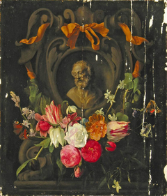 Garland of Flowers around the the Bust an Old Man in a Cartouche