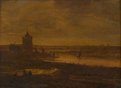 Gezicht op de Rijn bij Arnhem