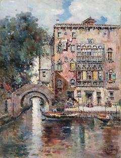 Gondolas in a Venetian Canal