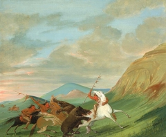 Grizzly Bears Attacking Indians on Horseback