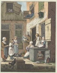Groep mensen voor de deur van een woning