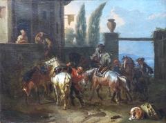 Halte de cavaliers devant une hôtellerie