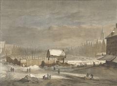 Het Damrak in de winter