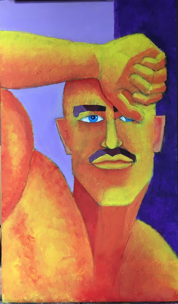 Hombre de ojos azules. Acrilico. 31 x 52 cm