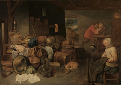 Inneres eines Bauernhauses mit einer am Spinnrocken eingeschlafenen alten Frau