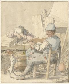 Interieur met vioolspelende man, slapende vrouw en dansende hond