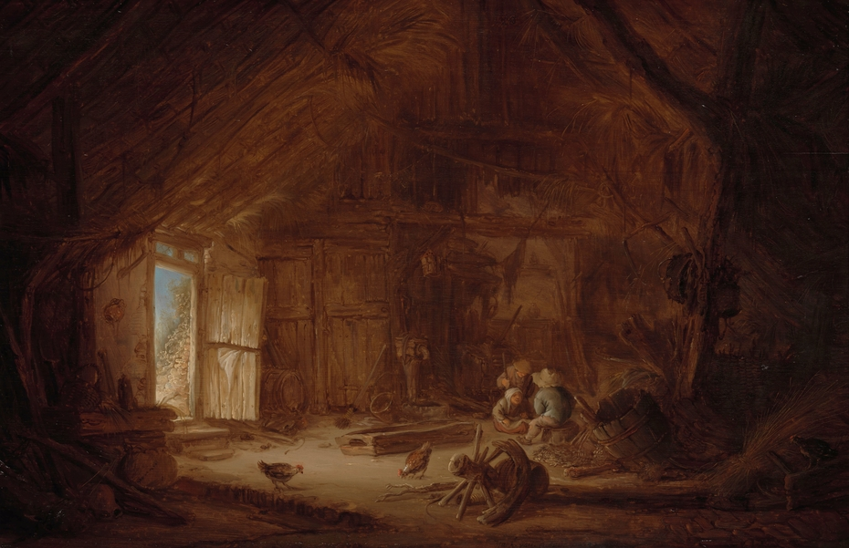 Interior of a barn with three children