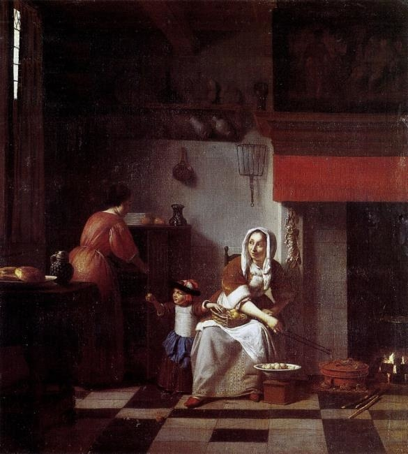 Interior of a kitchen with a woman, a child and a maid
