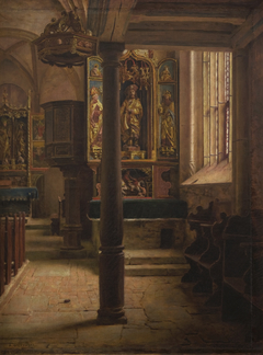 Interior of St Wolfgang's Church  in Rothenburg