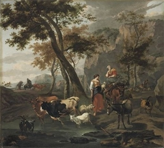 Italianate Landscape with Shepherdess and Cattle