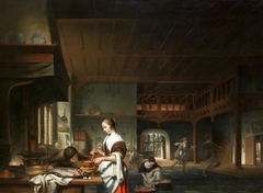 Kitchen interior with a maid preparing a sauce