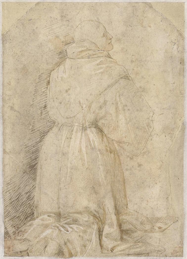 Knielende monnik, op de rug gezien