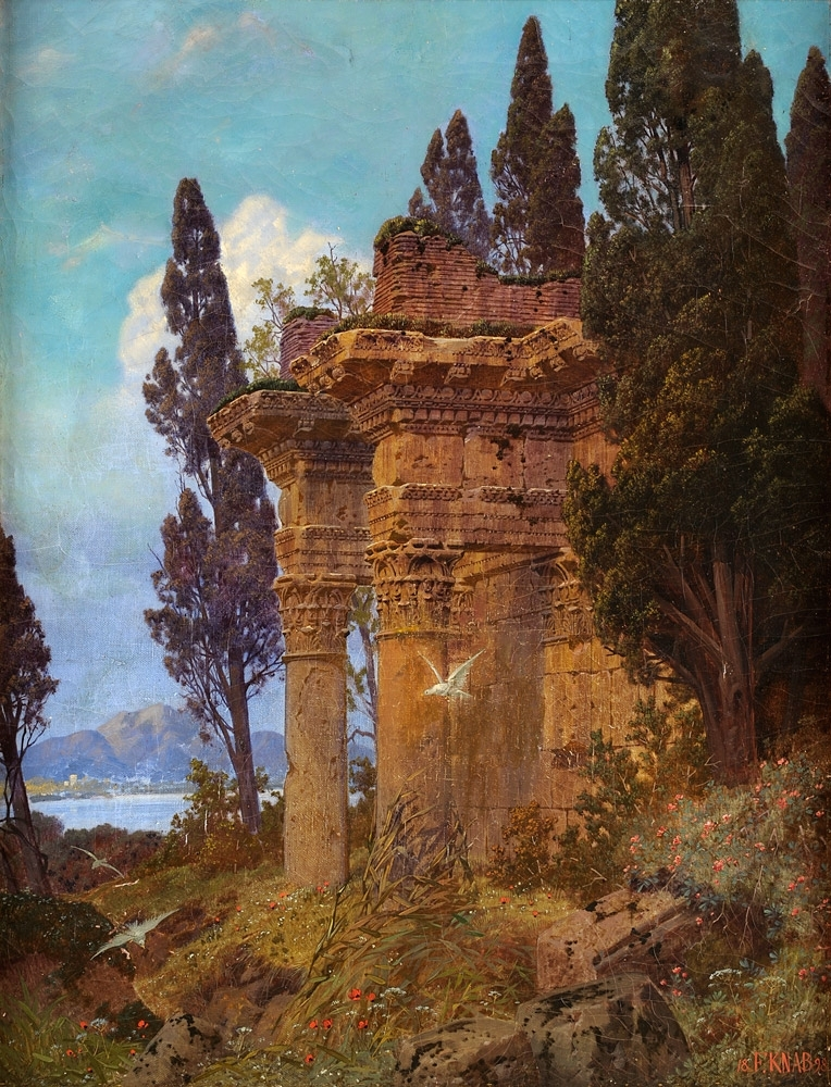 Lake Landscape with Ruined Temple