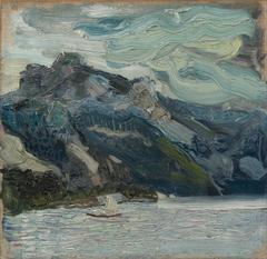 Lake Traun with Mountain Sleeping Greek Woman