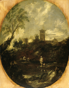 Landscape with Monks, Pilgrim and Peasant Woman