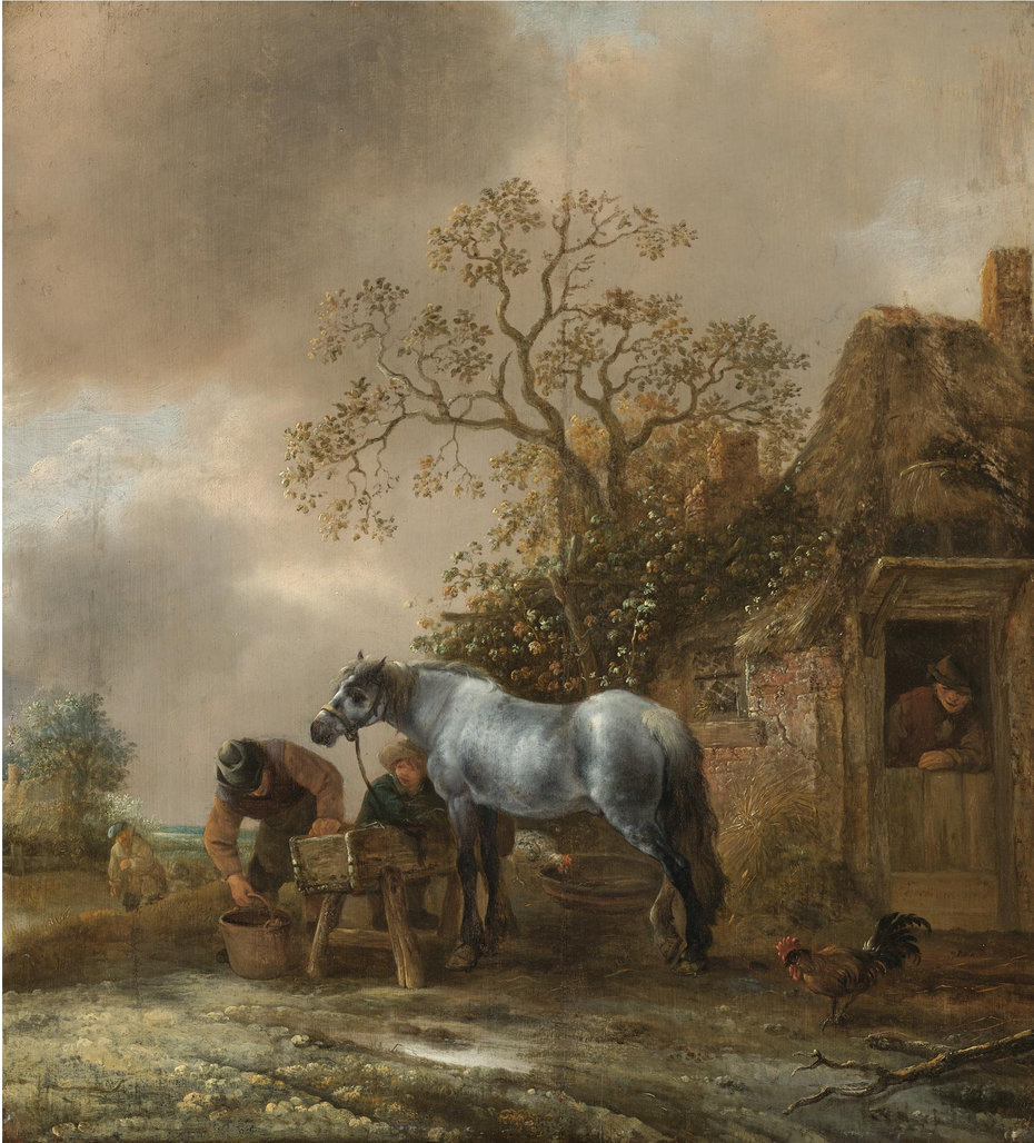 Landscape with Peasants Feeding a Horse before a Cottage