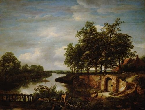 Landscape with river and cellar entrance