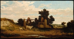 Landscape with Sheep and Old Well