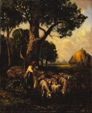Landscape with Sheep and Shepherdess